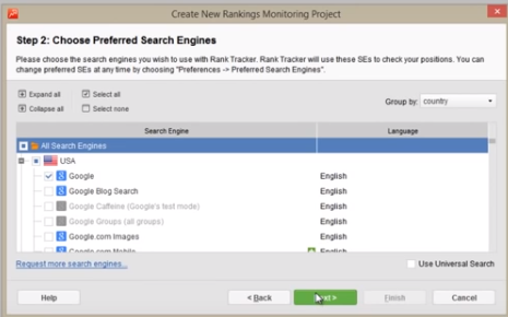 Choose target search engines